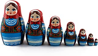 Matryoshka Polish National Dress Babushka Russian Nesting Wooden Stacking Doll 7 Pcs