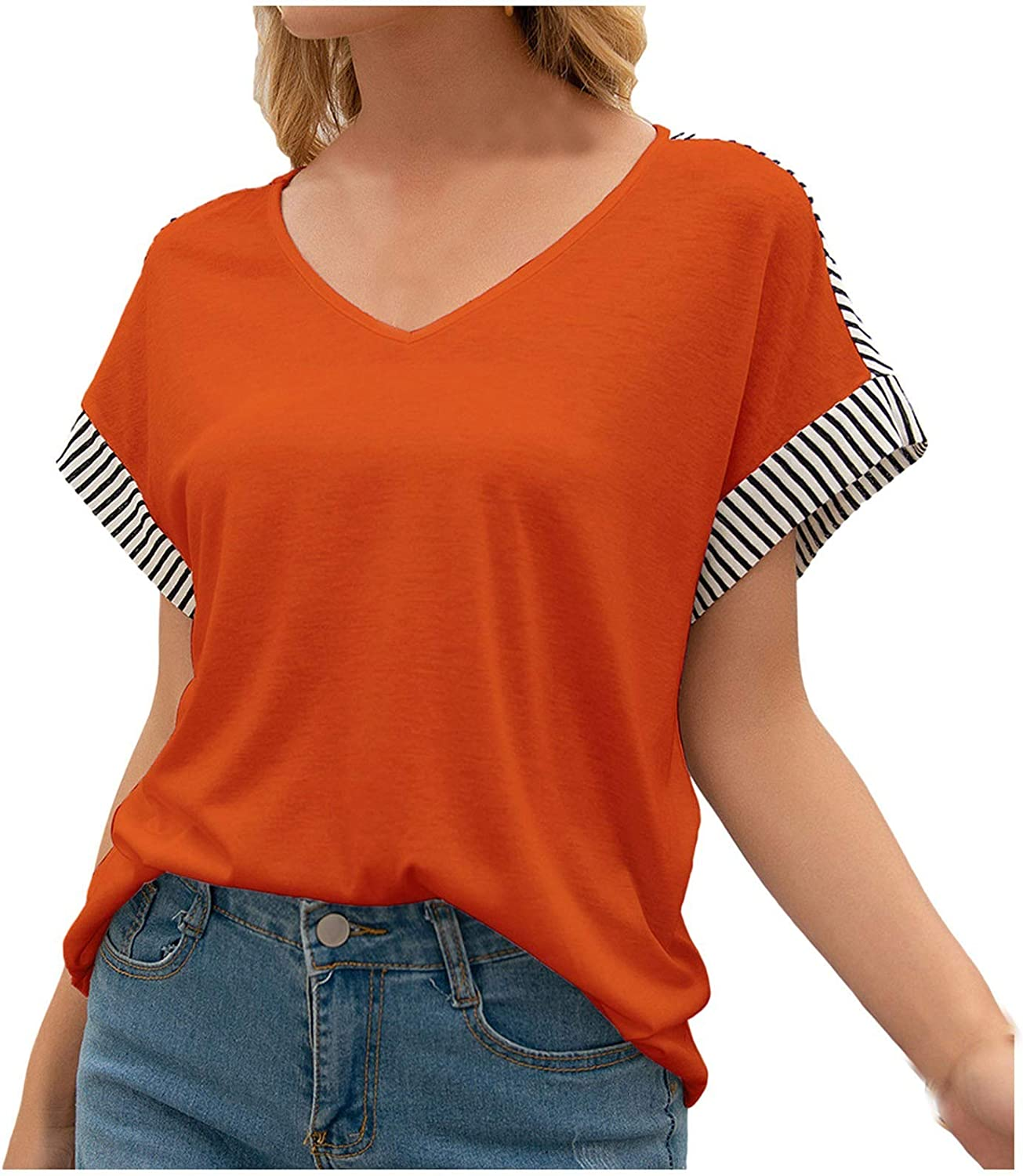 Tops for Women Women's Casual V-Neck Splicing Loose Collision Color Short-Sleeved T-Shirt Blouses