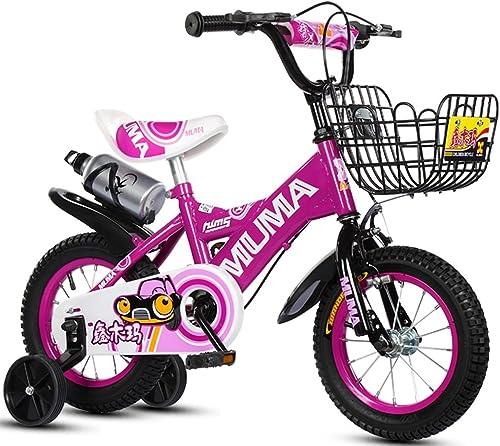 Vélo Guo Shop- Bicyclette pour Enfants 2-4-6 Ans 6-7-8-9 Ans d'enfant Transport de Bébé Garçon Fille avec Roue d'entraîneHommest et Bouilloire (Couleur   violet, Taille   18 )