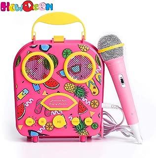 Bluetooth Speaker Children's Karaoke Speaker Portable Microphone Beach Handbag Karaoke Bluetooth Speaker Wireless Cartoon Speaker for Kids for Indoor Outdoor Travel Activities with Microphone (Pink)