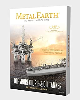 Fascinations Metal Earth Off Shore Oil Rig & Oil Tanker Gift Box Set 3D Metal Model Kit