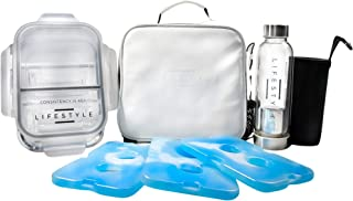 Minimalist Insulated Lunch Bag, 3 Glass Portion Control Containers, 1 Tea INFUSER Bottle, 3 Reusable Ice Packs, 5 Bonus Ebooks, Meal Prep Bundle with Containers for Men & Women