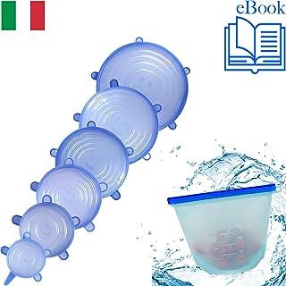 Tapas Silicona Ajustables Cocina Universal Elásticas 6 Set Extensible Reutilizable Hermético para Horno Microondas - Cubierta De Mantenimiento Fresco - Fundas para Tazones Blanco azul - FREE EBOOK