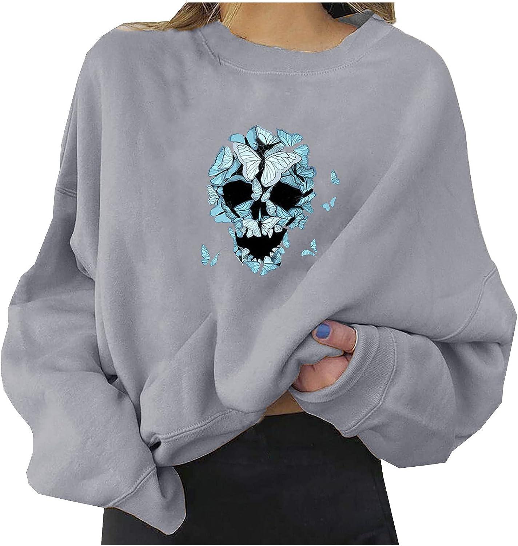 Women's Winter Tops Halloween Long P Pumpkin Skull Shirts Sleeve Max 72% New product! New type OFF