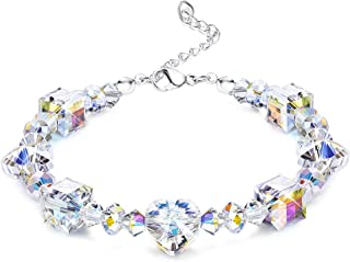 "KesaPlan Crystals Bracelet for Women Girls Heart Bead Stretch Bracelets Made with Swarovski Crystals, Jewelry for Her, 7""+2"" Length"