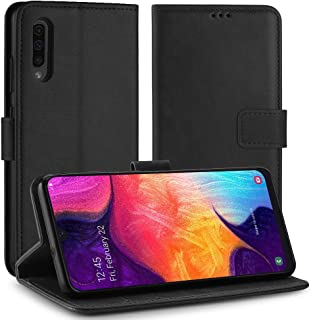 Simpeak Case Compatible with Galaxy A50, Black Premium PU Leather [Ultra-Slim] Flip Wallet Case with TPU Shockproof Functi...