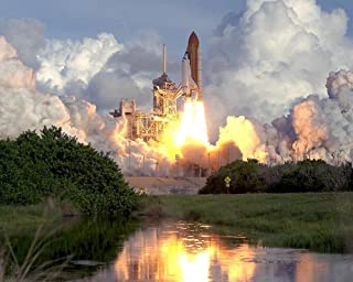 Laminated 30x24 inches Poster: Atlantis Space Shuttle Launch Reflection Water Mission Astronauts Liftoff Rockets Spacecraft Sky Orbit Exploration Spaceship Flight Blast Off NASA