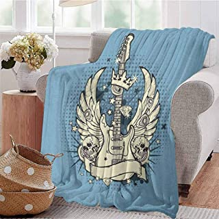 Luoiaax Guitar Commercial Grade Printed Blanket Rock n Roll Composition Crown Wings Skulls Stars on Retro Grunge Backdrop Queen King W70 x L70 Inch Pale Blue Ivory Black