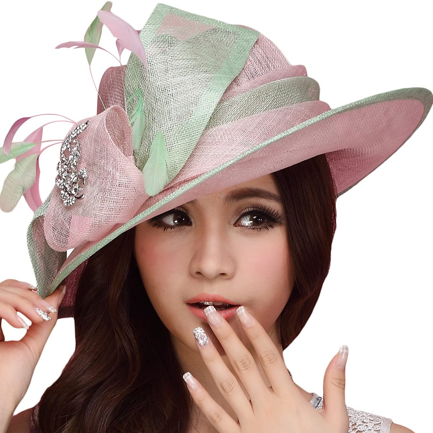 June's Young Women Hat Sinamay Summer Hat Wide Brim Feather Pink