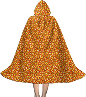 LXXTK Halloween Candy Corn Hooded Cape for Kids   Children's Cloak with Hood for Halloween, Costumes,Cosplay,Christmas