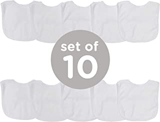 Neat Solutions 2-Ply Knit Terry Solid Color Feeder Bibs in White - 10 Pack