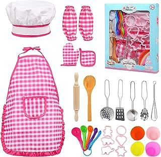 BelleStyle Kids Bakset voor kinderen, 28 stuks, kookset voor kinderen van 3-8 jaar, inclusief schort voor meisjes, chef-ko...