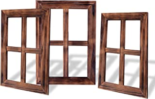 RHF 4 Pane Rustic Window Frame Wall Decor,Antique Window Frame, Empty Frames, Wall Mounted Farmhouse Signs For Home,3 Pieces Pack