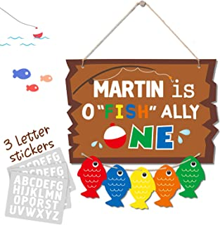 Huray Rayho O-Fish-Ally One Door Sign Gone Fishing Party Baby First Birthday Wall Porch Photo Props Hanging Dercoration
