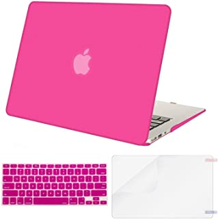 MOSISO Plastic Hard Shell Case & Keyboard Cover & Screen Protector Only Compatible with MacBook Air 13 inch (Models: A1369 & A1466, Older Version 2010-2017 Release), Rose Red