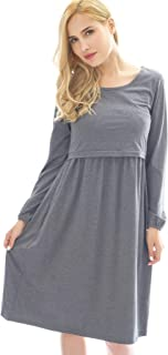Bearsland Women's Long Sleeve Maternity Dress Empire Waist Nursing Breastfeeding Dress