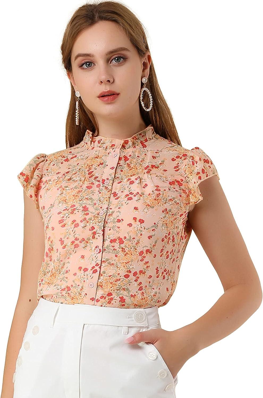Allegra K Women's Short Sleeve Button Front Shirt Ruffle Collar Floral Chiffon Top Blouse