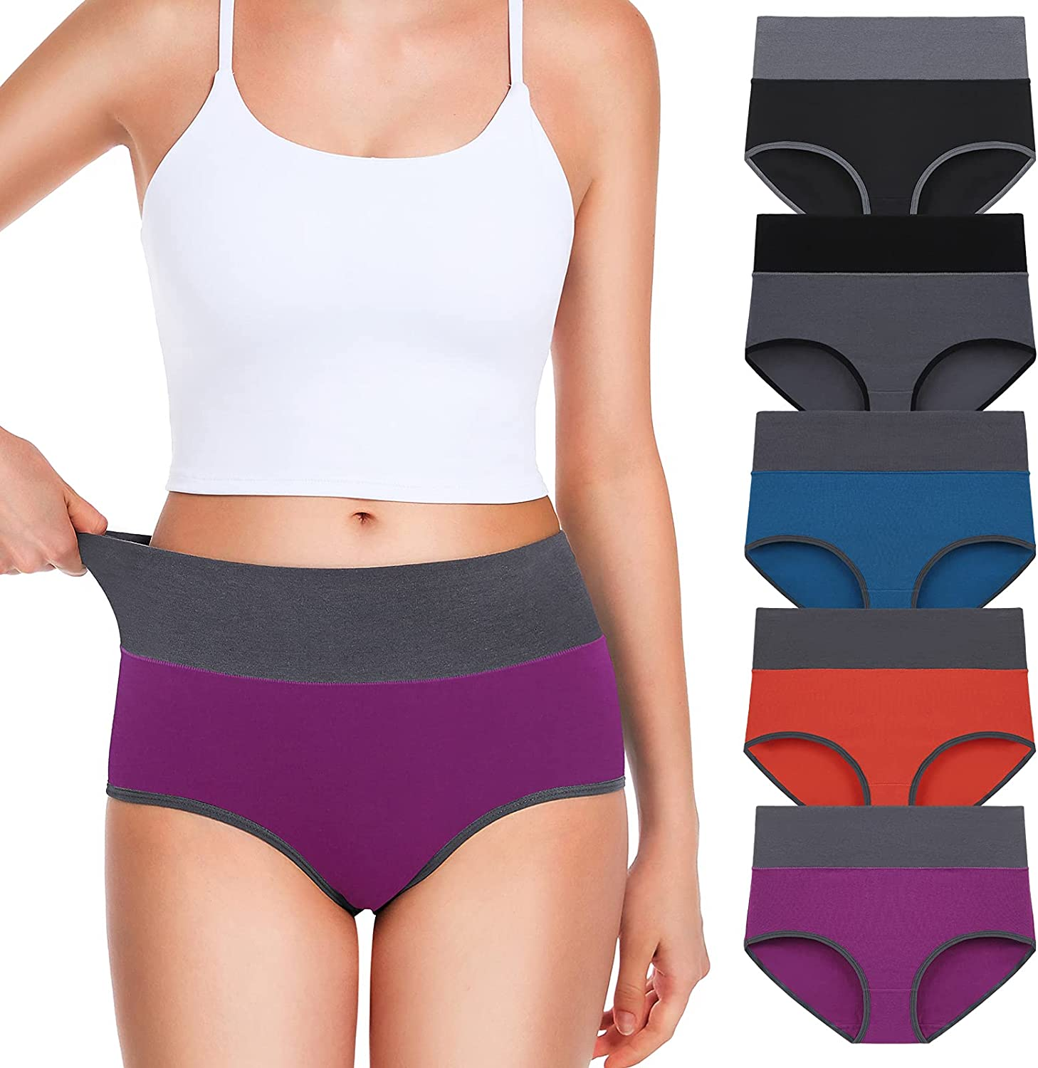 OLIKEME Womens Underwear High Waisted Cotton Full Coverage Breathable Ladies Briefs