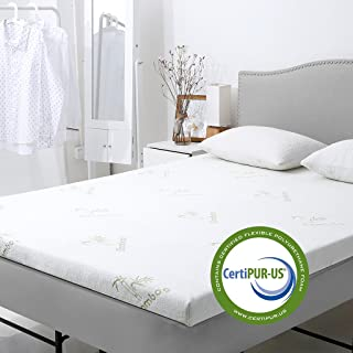 LANGRIA 2-Inch Gel-Infused Memory Foam Mattress Topper CertiPUR-US Certified Gel Memory Foam with Removable Zippered, Bamboo Cover and Non Slip Bottom (Queen)