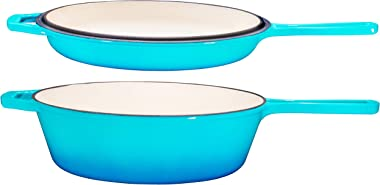 Enameled 2-In-1 Cast Iron Multi-Cooker – Heavy Duty Skillet and Lid Set, Versatile Non-Stick Kitchen Cookware, Use As Dutch O