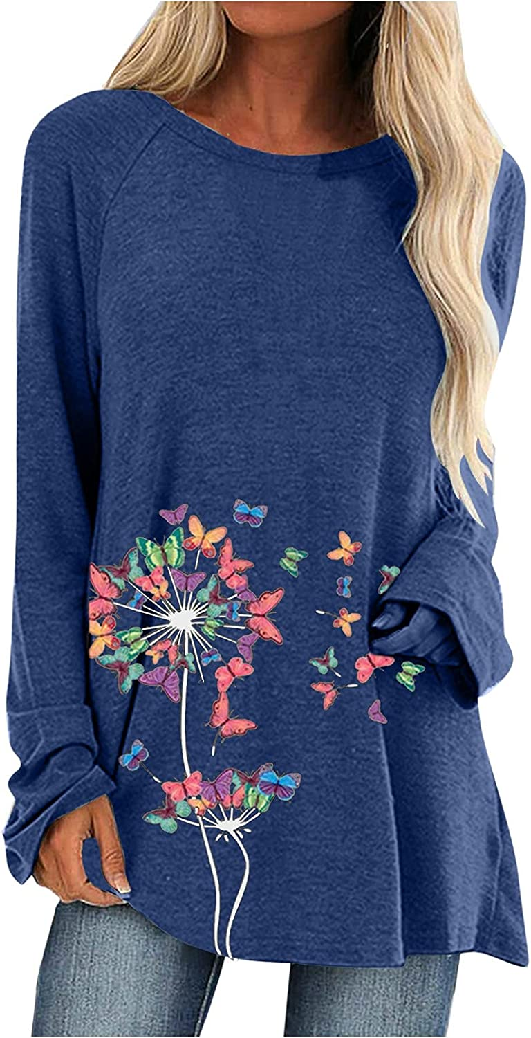 FABIURT Long Sleeve Shirts for Women Fashion Crewneck Floral Print Pullover Top Loose Cute Graphic Tunic Sweaters Shirts
