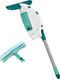 Leifheit 51107 Click System Window Cleaning Tool Kit with Vacuum Squeegee - Pole and Microfiber Cleaning Pad