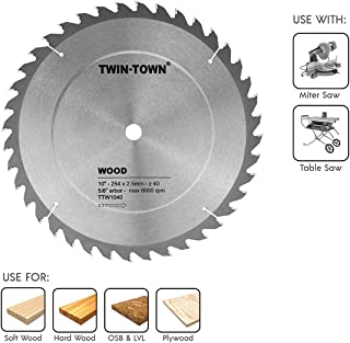 TWIN-TOWN 10-Inch Saw Blade, 40 Teeth,General Purpose for Soft Wood, Hard Wood & Plywood, ATB Grind, 5/8-Inch Arbor