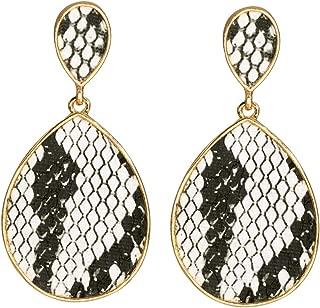 Statement Drop Earrings for Women Leopard Earrings Fur Leather Dangle Earrings