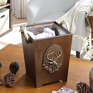 Poubelle à la maison Rétro récipient à déchets en bois créatif poubelles boîte de rangement de salon de cuisine Poubelle c...