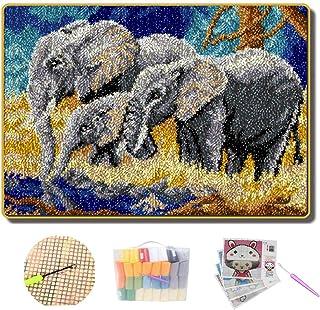 Lee My Outils de Bricolage Crochet Couverture Motif éléphant Tapis de Coussin Bricolage Broderie Tapis Décoration Shaggy A...
