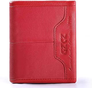 Mens Leather Bag Lady's Purse with A Three-fold Leather Clutch Top Layer and A Detachable Change Purse Bag (Color : Red, Size : S)