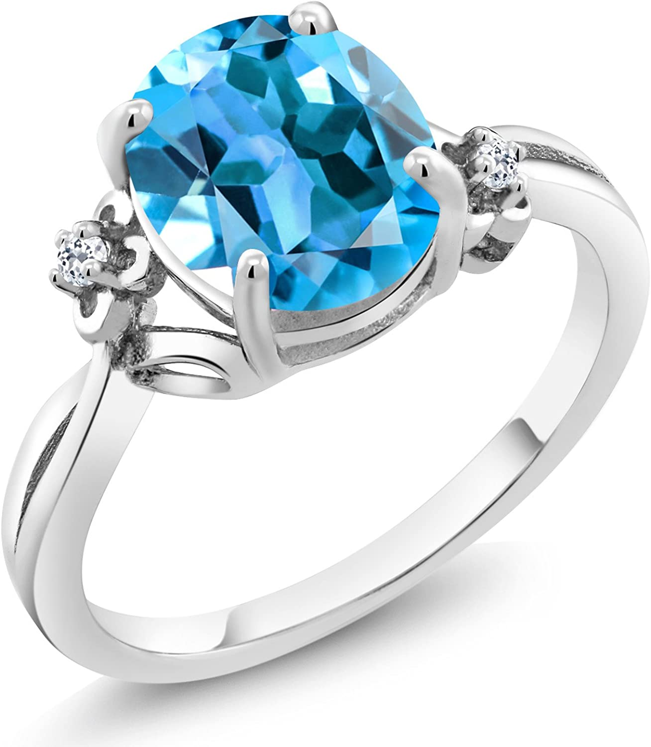 Opening large release sale Gem Stone King 2.74 Ct Oval Blue 925 Ste Swiss White Today's only Topaz