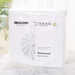 Deconovo Waterproof Mattress Protector Soft Breathable Cotton Terry Fitted Deep Pocket Bed Bug Proof Vinyl Free and Noiseless Cover, King, 15 to 18
