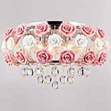 Ceiling Light's Idyllic Modern Crystal 5 Light Pendant Decorated with Pink Flower Chandelier for Dining Room, Bedroom, Liv...