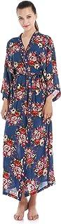 JZLPIN Women Robe Floral Kimono Long Robe Cotton Bathrobe Wedding Bridesmaids Robe