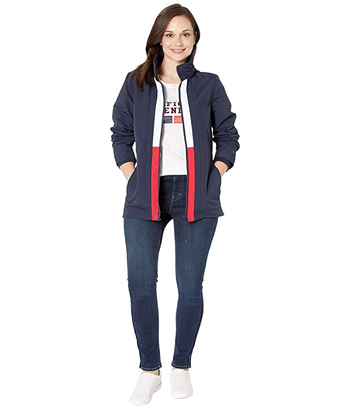 Tommy Hilfiger Adaptive  Windbreaker Jacket with Magnetic Zipper (Masters Navy/Bright White/Tango Red) Womens Clothing