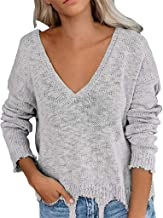 LEKODE Sweater Women's V-Neck Solid Long Sleeve Knit