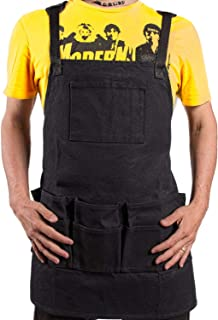 WirtaWork Shop Apron for men and women - Comfort Tool apron with 11 pockets and 2 hammer loops - Heavy duty 16 oz Waxed Canvas Apron is great choice for Metal Work Apron or Woodshop Apron (Black)