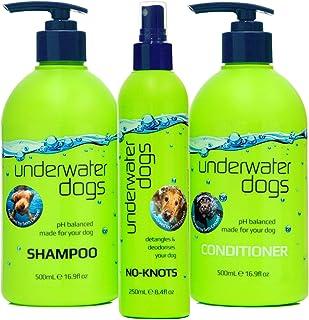 Underwater Dogs No-Knots Tri-Pack - Shampoo & Conditioner 16.9 fl oz Plus No-Knots Detangler 8.4 fl oz - Skin & Hair Healt...