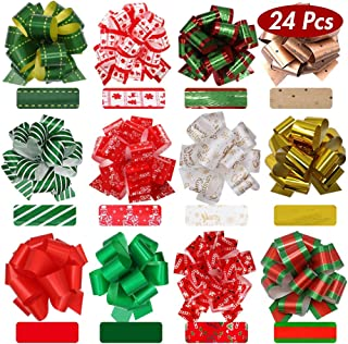 Lulu Home Christmas Pull Bows for Gifts, Xmas Bows for Presents, Assorted Colorful Pull Bows for Gift Wrapping, 24 PCS