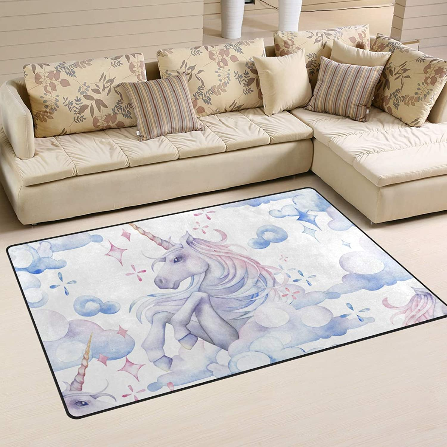 Area Rugs Carpet Doormats 60x39 inches Mythology Unicorn Horse for Living Room Bedroom Decorative Non-Slip Floor Mat