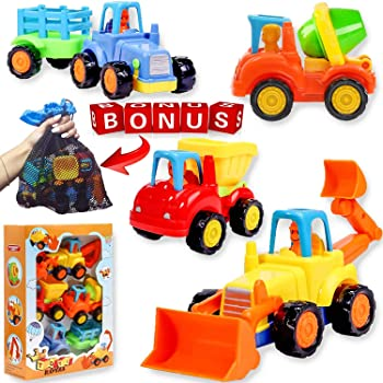 friction Powered Cars Push and Go Construction Vehicles Toy Set of 4 Cartoon Bulldozer, Tractor, Cement Mixer, Dump T...