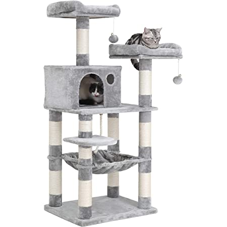 Feandrea Multi Level Cat Tree For Big Cats Stable Cat Tower Gray Upct85g Pet Supplies