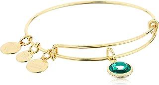 Alex and Ani Women's Swarovski Color Code Bangle December Blue Zircon Bracelet, Shiny Gold