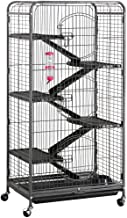 Yaheetech Multi Levels Rolling Large Ferret Cage - 52-inch Pet Chinchilla Bunny Squirrels Cage Small Animals Hutch w/ 3 Front Doors/Bowl/Water Bottle