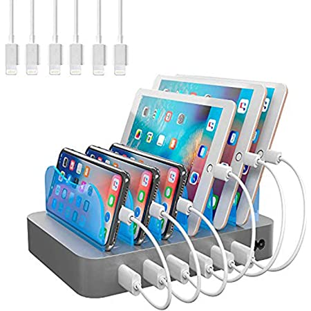 Hercules Tuff Charging Station for Multiple Devices, with 6 USB Fast Ports, and 6 Short USB Cables Included for Cell Phones, Smart Phones, Tablets, and Other Electronics, Silver