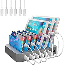Hercules Tuff Charging Station for Multiple Devices (White) - 6 USB Fast Ports - 6 Short USB Lightning Cables Included for...