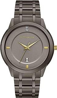 Wittnauer Continental Men's Quartz Double-Diamond Accent Gunmetal Bracelet 42mm Watch WN3091