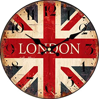MEISTAR Ultra Big Numerals British Country Style Wall Clock,Wood 14 Inch England Flag Design Non Ticking Wall Clock for Cafe,Coffee Bar and Restaurant