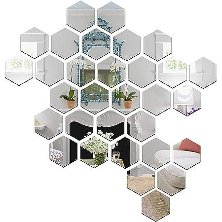 Wall1ders - 31 Hexagon & 10 Butterflies Silver (Size 10.5 x 12 cm) 3D Hexagon Wall Stickers, 3D Stickers for Wall Large Size, 3D Wall Stickers, Acrylic Sticker
